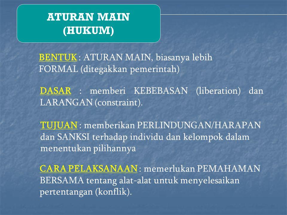 ATURAN MAIN (HUKUM) BENTUK : ATURAN MAIN, biasanya lebih FORMAL (ditegakkan pemerintah) DASAR : memberi KEBEBASAN (liberation) dan LARANGAN (constraint).