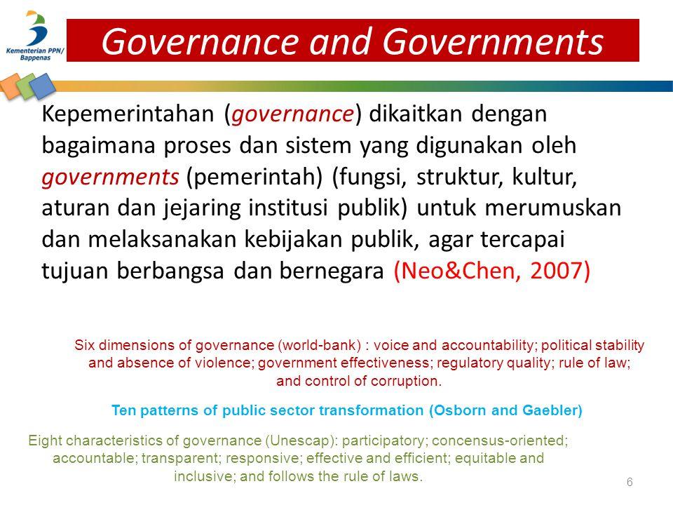 Kepemerintahan (governance) dikaitkan dengan bagaimana proses dan sistem yang digunakan oleh governments (pemerintah) (fungsi, struktur, kultur, atura