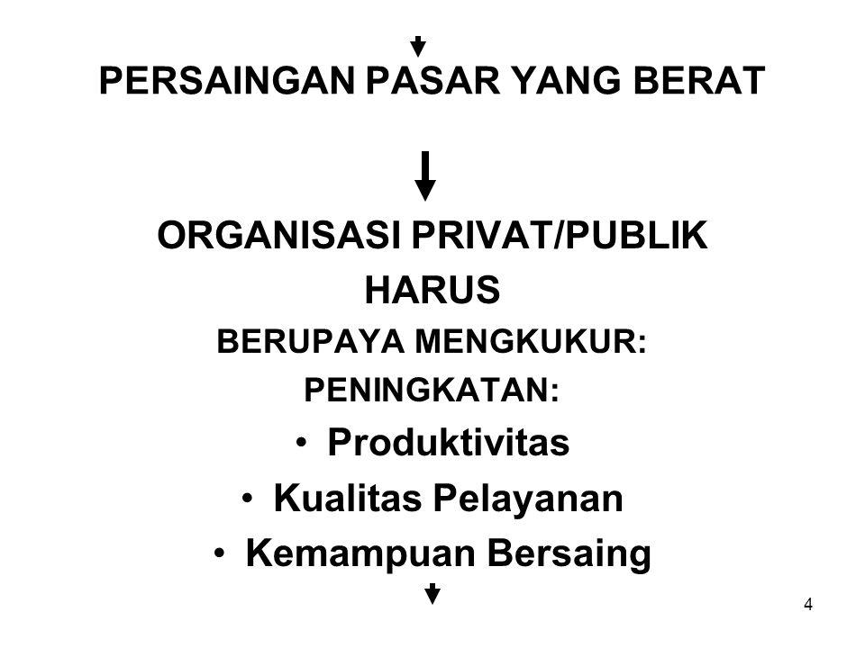 4 PERSAINGAN PASAR YANG BERAT ORGANISASI PRIVAT/PUBLIK HARUS BERUPAYA MENGKUKUR: PENINGKATAN: Produktivitas Kualitas Pelayanan Kemampuan Bersaing