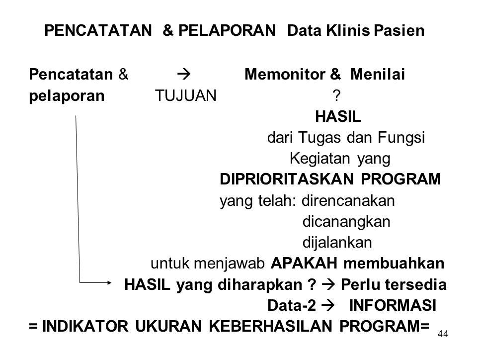 44 PENCATATAN & PELAPORAN Data Klinis Pasien Pencatatan &  Memonitor & Menilai pelaporan TUJUAN .