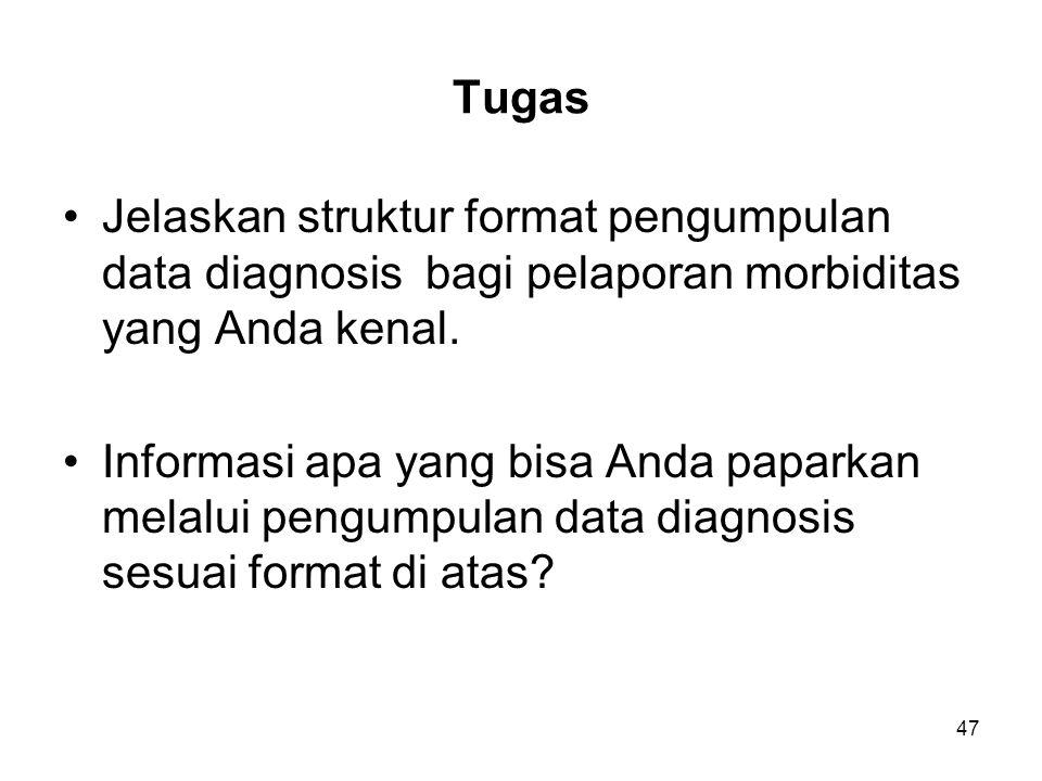 47 Tugas Jelaskan struktur format pengumpulan data diagnosis bagi pelaporan morbiditas yang Anda kenal.