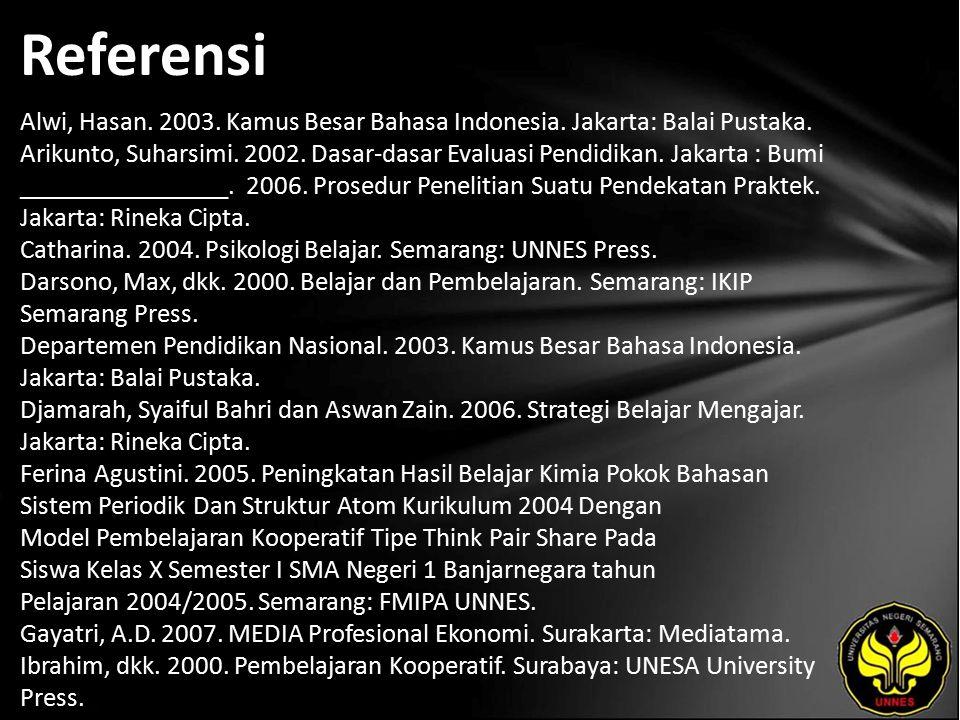 Referensi Alwi, Hasan. 2003. Kamus Besar Bahasa Indonesia.