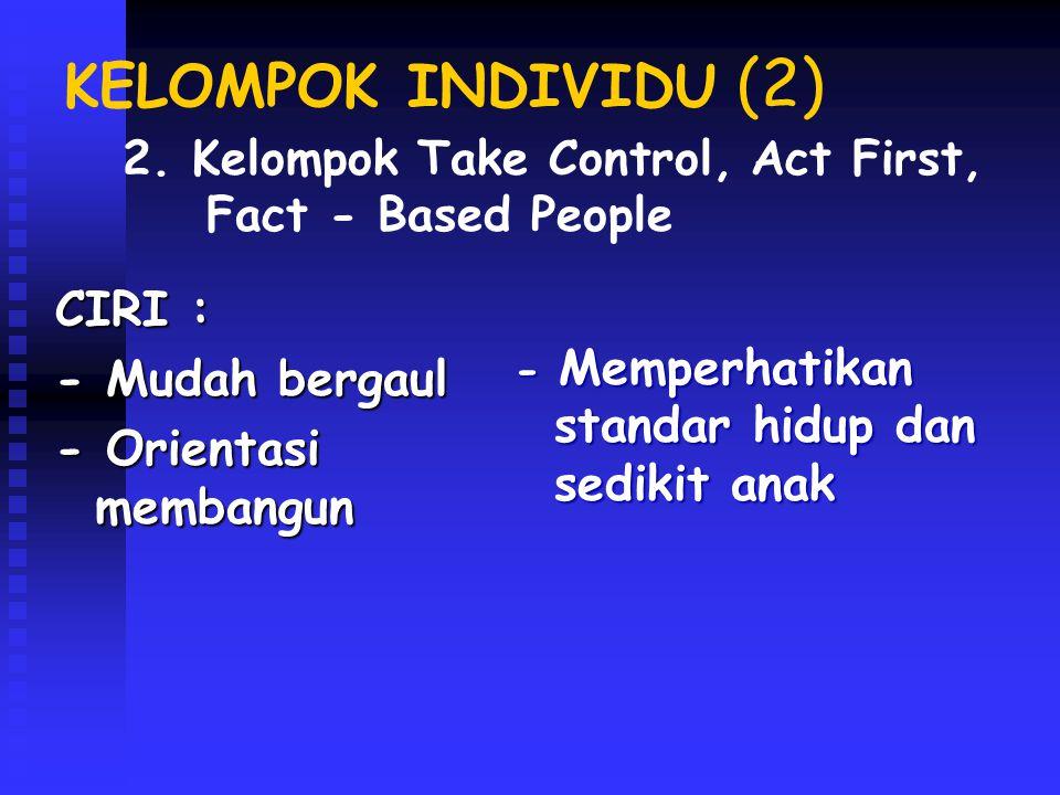 KELOMPOK INDIVIDU (3) CIRI : - Bependidikan dan penghasilan tinggi -Konvensional -Sulit bermasyarakat - Perkawinan tidak langgeng - Tidak suka kegiatan di luar rumah 3.