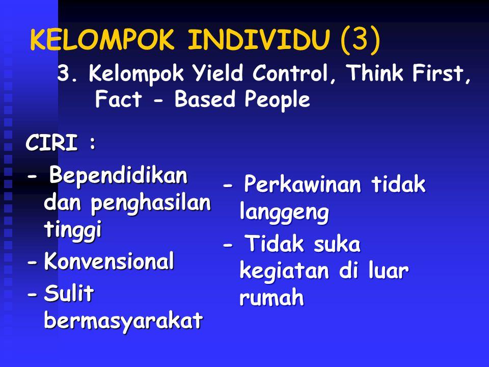 KELOMPOK INDIVIDU ( 4) CIRI : -Cukup berpendidikan -Tidak luwes dlm bermasyarakat bermasyarakat -Penghasilan tinggi -Profesional -Wiraswastawan -Pria tidak menikah 4.