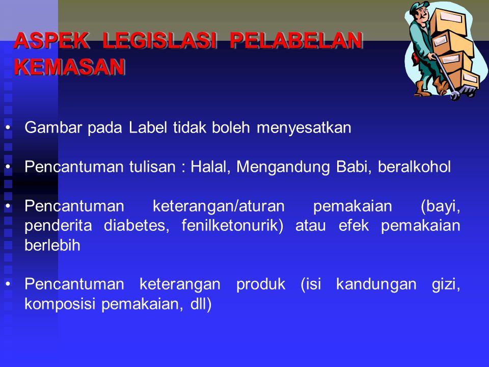 ASPEK LEGISLASI PELABELAN KEMASAN Gambar pada Label tidak boleh menyesatkan Pencantuman tulisan : Halal, Mengandung Babi, beralkohol Pencantuman keter