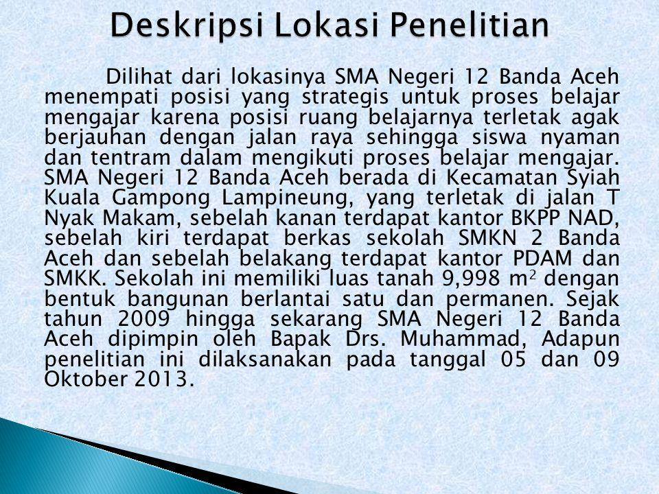 Dilihat dari lokasinya SMA Negeri 12 Banda Aceh menempati posisi yang strategis untuk proses belajar mengajar karena posisi ruang belajarnya terletak