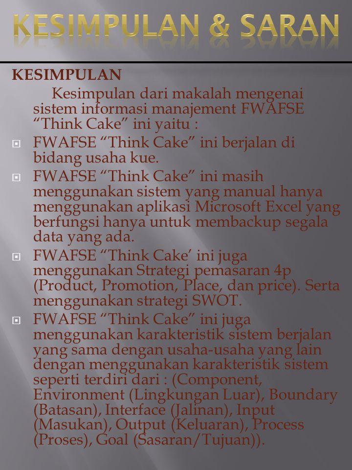 """Adapun permasalahan-permasalahan yang FWAFSE """"Think cake"""" hadapi yaitu diantaranya : 1. Tidak Cepatnya para pegawai menyediakan pesanan konsumen dikar"""