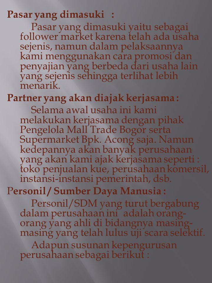 """Nama Perusahaan : FWAFSE """"ThinkCake"""". Tanggal Berdiri: 1 Oktober 2011. Lokasi: Jl. Garuda II Selakopi Ciomas Rt 01/04 Kel. Pasir Mulya Kec. Bogor Bara"""
