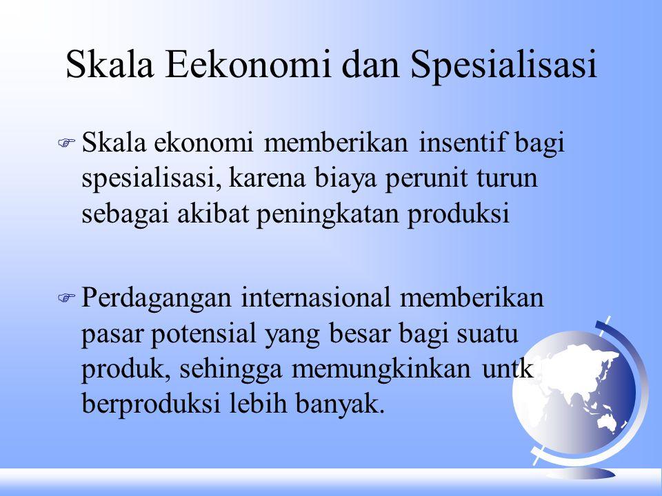 Skala Eekonomi dan Spesialisasi F Skala ekonomi memberikan insentif bagi spesialisasi, karena biaya perunit turun sebagai akibat peningkatan produksi