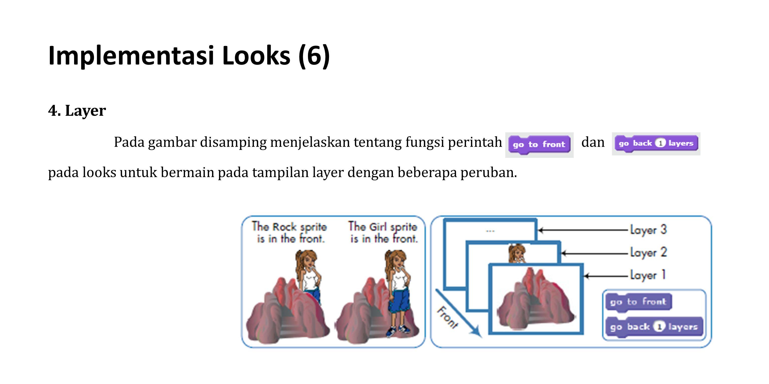 4. Layer Pada gambar disamping menjelaskan tentang fungsi perintah dan pada looks untuk bermain pada tampilan layer dengan beberapa peruban. Implement
