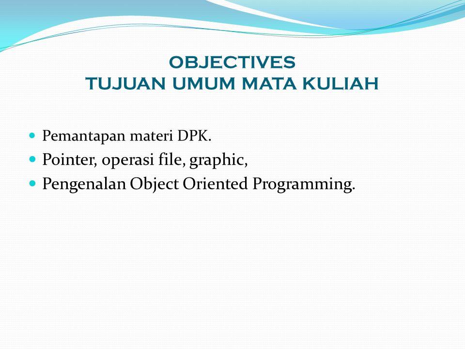 OBJECTIVES TUJUAN UMUM MATA KULIAH Pemantapan materi DPK. Pointer, operasi file, graphic, Pengenalan Object Oriented Programming.