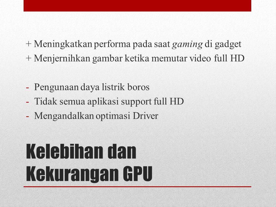 Kelebihan dan Kekurangan GPU + Meningkatkan performa pada saat gaming di gadget + Menjernihkan gambar ketika memutar video full HD -Pengunaan daya listrik boros -Tidak semua aplikasi support full HD -Mengandalkan optimasi Driver