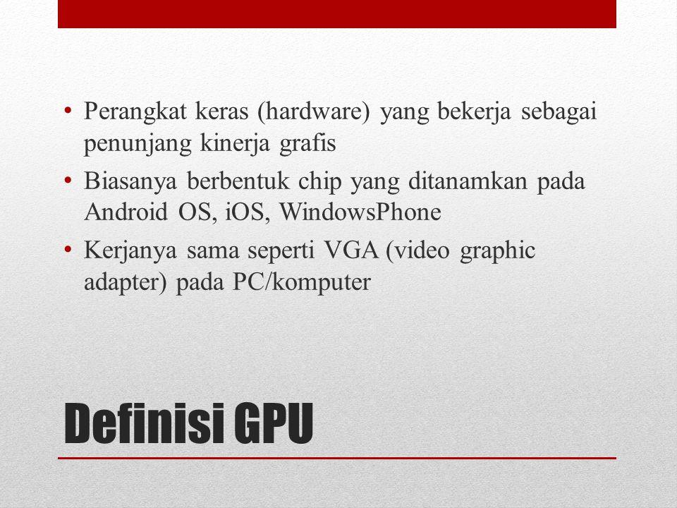 Definisi GPU Perangkat keras (hardware) yang bekerja sebagai penunjang kinerja grafis Biasanya berbentuk chip yang ditanamkan pada Android OS, iOS, WindowsPhone Kerjanya sama seperti VGA (video graphic adapter) pada PC/komputer