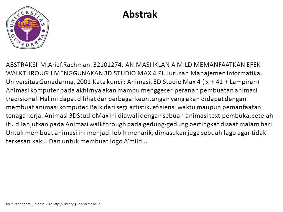 Abstrak ABSTRAKSI M.Arief.Rachman.32101274.