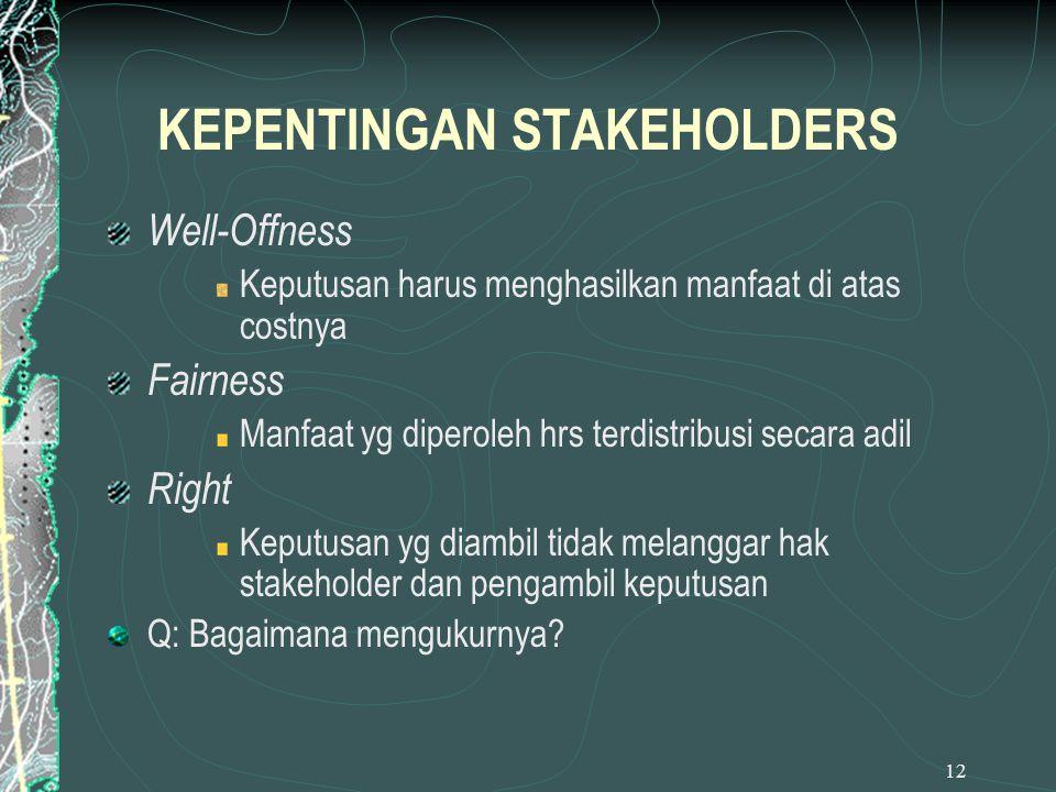 12 KEPENTINGAN STAKEHOLDERS Well-Offness Keputusan harus menghasilkan manfaat di atas costnya Fairness Manfaat yg diperoleh hrs terdistribusi secara a