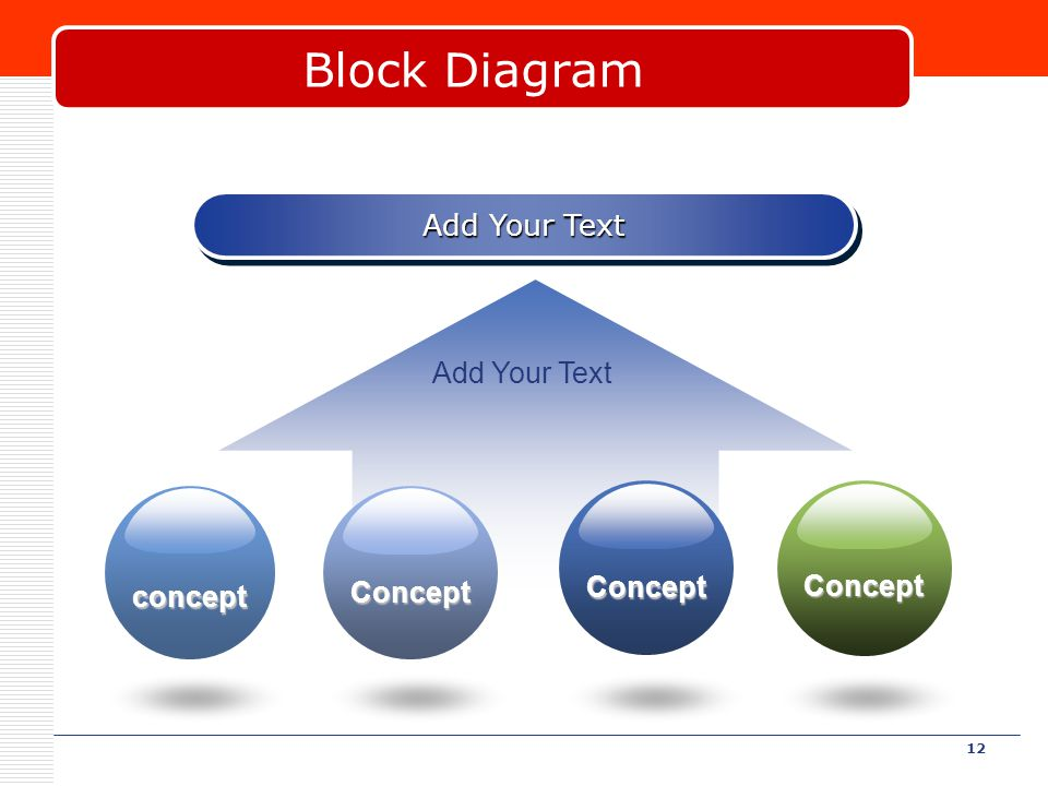 12 Block Diagram Add Your Text concept Concept Concept Concept