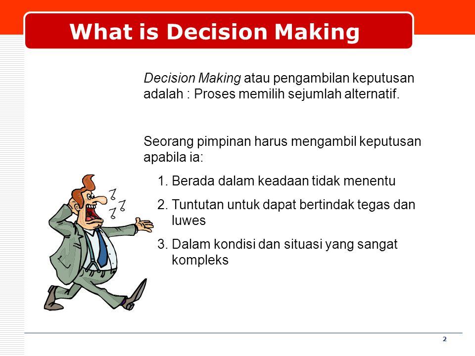 2 What is Decision Making Decision Making atau pengambilan keputusan adalah : Proses memilih sejumlah alternatif. Seorang pimpinan harus mengambil kep