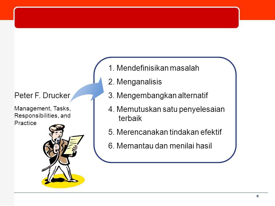 4 Peter F. Drucker 1. Mendefinisikan masalah 2. Menganalisis 3. Mengembangkan alternatif 4. Memutuskan satu penyelesaian terbaik 5. Merencanakan tinda