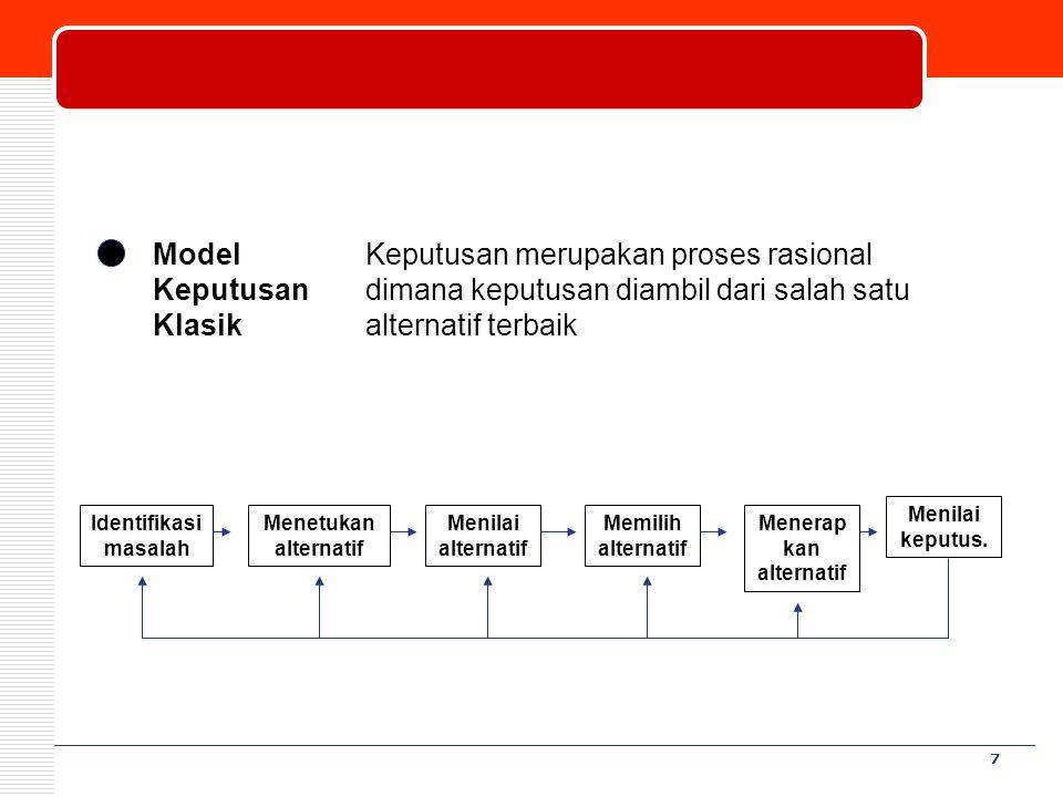 8 Model Keputusan Perilaku Keputusan diambil berdasarkan kepuasan bawahan Model Keputusan Chung and Megginson 1.