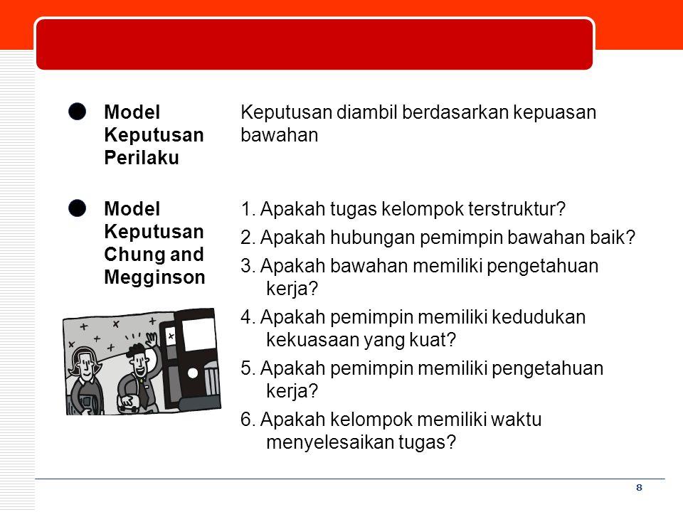 8 Model Keputusan Perilaku Keputusan diambil berdasarkan kepuasan bawahan Model Keputusan Chung and Megginson 1. Apakah tugas kelompok terstruktur? 2.