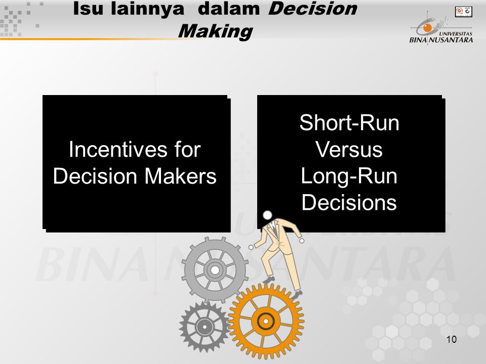 10 Isu lainnya dalam Decision Making Incentives for Decision Makers Incentives for Decision Makers Short-Run Versus Long-Run Decisions Short-Run Versus Long-Run Decisions