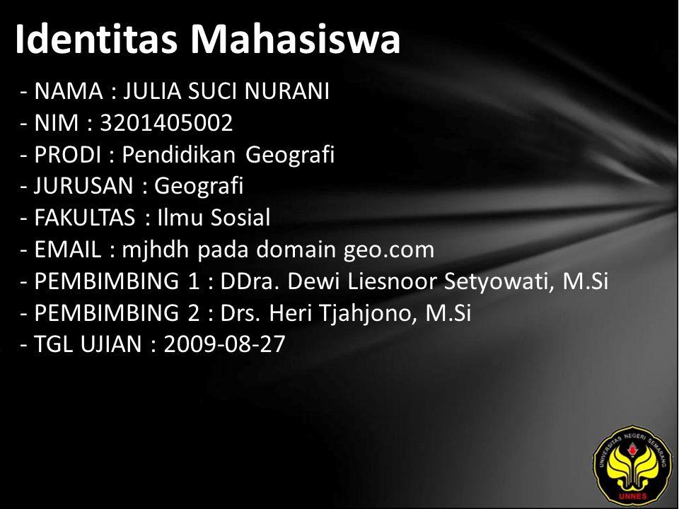 Identitas Mahasiswa - NAMA : JULIA SUCI NURANI - NIM : 3201405002 - PRODI : Pendidikan Geografi - JURUSAN : Geografi - FAKULTAS : Ilmu Sosial - EMAIL : mjhdh pada domain geo.com - PEMBIMBING 1 : DDra.