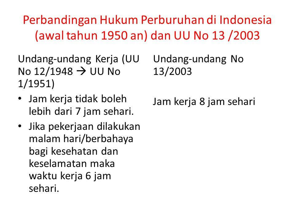 Perbandingan Hukum Perburuhan di Indonesia (awal tahun 1950 an) dan UU No 13 /2003 Undang-undang Kerja (UU No 12/1948  UU No 1/1951) Jam kerja tidak