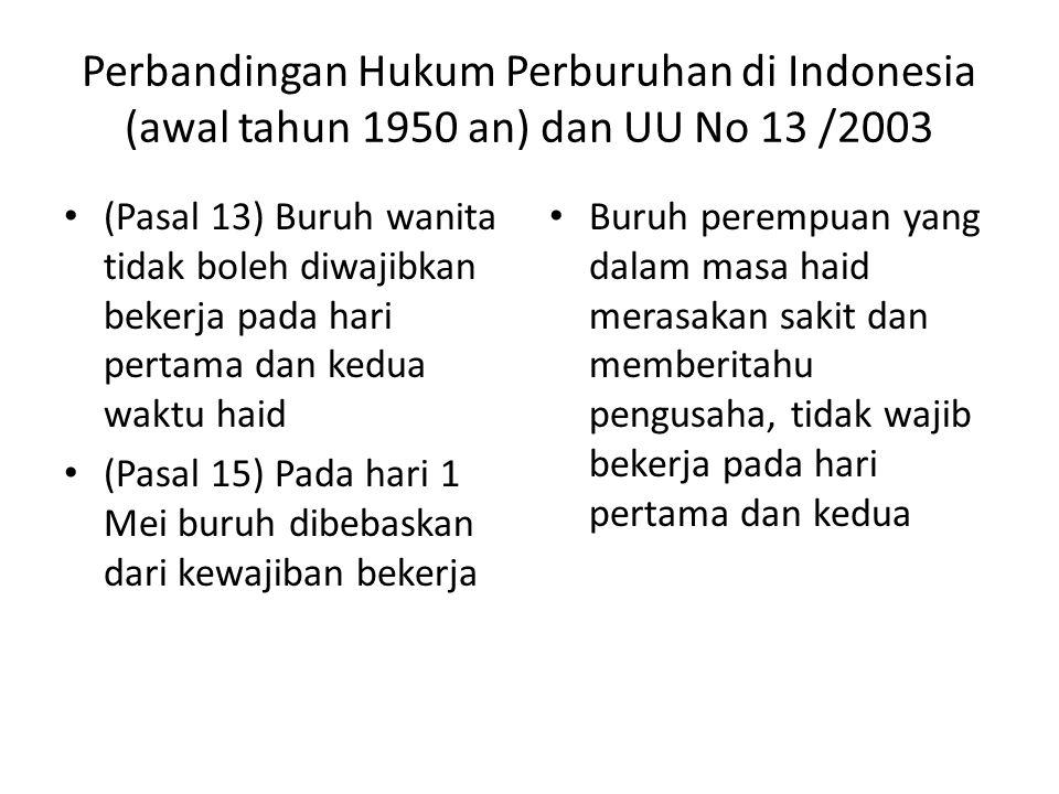 Perbandingan Hukum Perburuhan di Indonesia (awal tahun 1950 an) dan UU No 13 /2003 (Pasal 13) Buruh wanita tidak boleh diwajibkan bekerja pada hari pe
