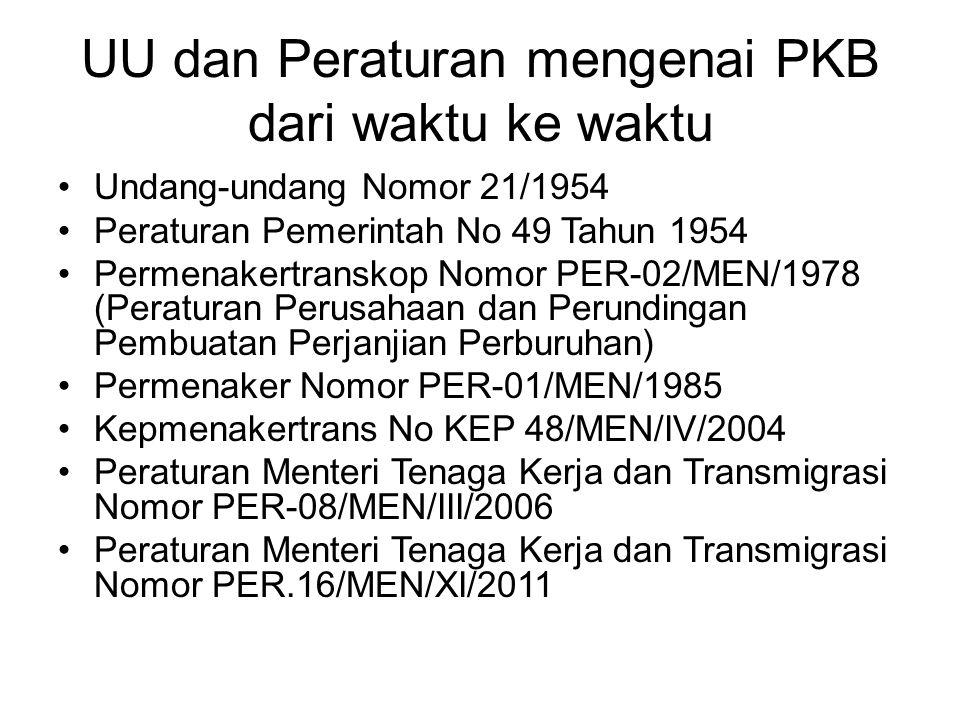 UU dan Peraturan mengenai PKB dari waktu ke waktu Undang-undang Nomor 21/1954 Peraturan Pemerintah No 49 Tahun 1954 Permenakertranskop Nomor PER-02/ME