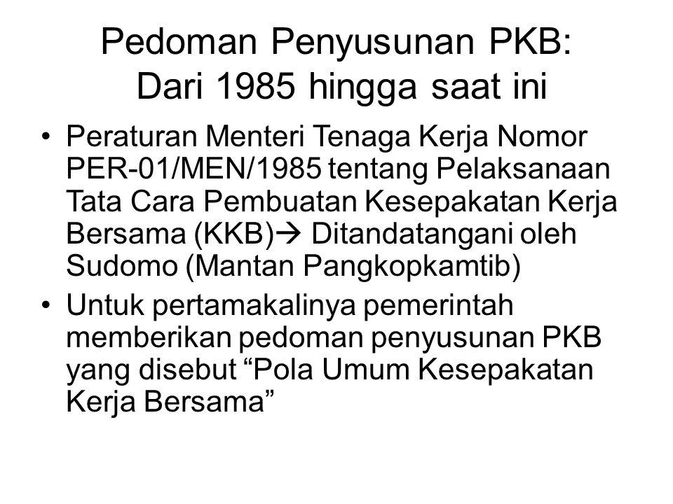 Pedoman Penyusunan PKB: Dari 1985 hingga saat ini Peraturan Menteri Tenaga Kerja Nomor PER-01/MEN/1985 tentang Pelaksanaan Tata Cara Pembuatan Kesepak