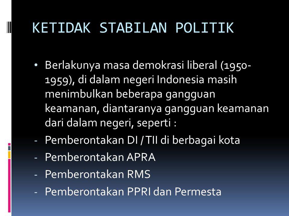 KETIDAK STABILAN POLITIK Berlakunya masa demokrasi liberal (1950- 1959), di dalam negeri Indonesia masih menimbulkan beberapa gangguan keamanan, diant