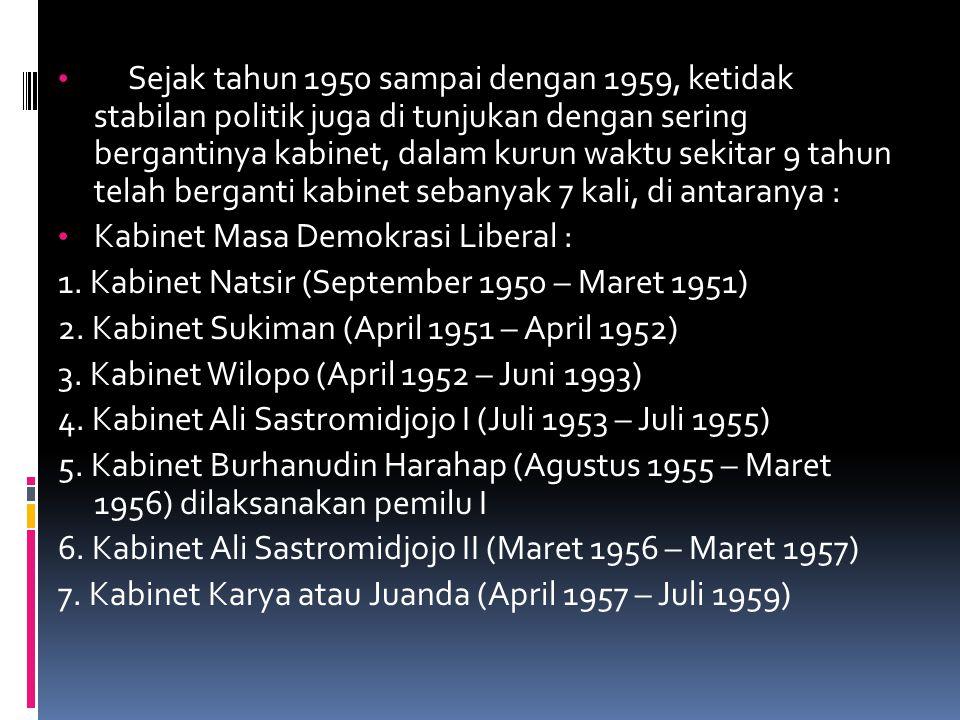 Sejak tahun 1950 sampai dengan 1959, ketidak stabilan politik juga di tunjukan dengan sering bergantinya kabinet, dalam kurun waktu sekitar 9 tahun te