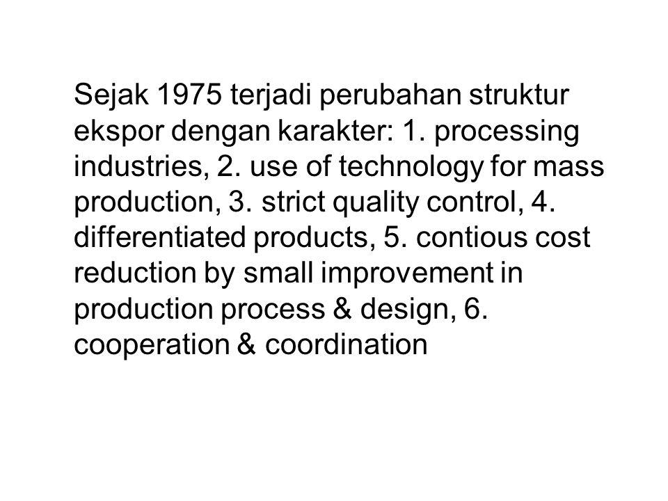 Sejak 1975 terjadi perubahan struktur ekspor dengan karakter: 1. processing industries, 2. use of technology for mass production, 3. strict quality co