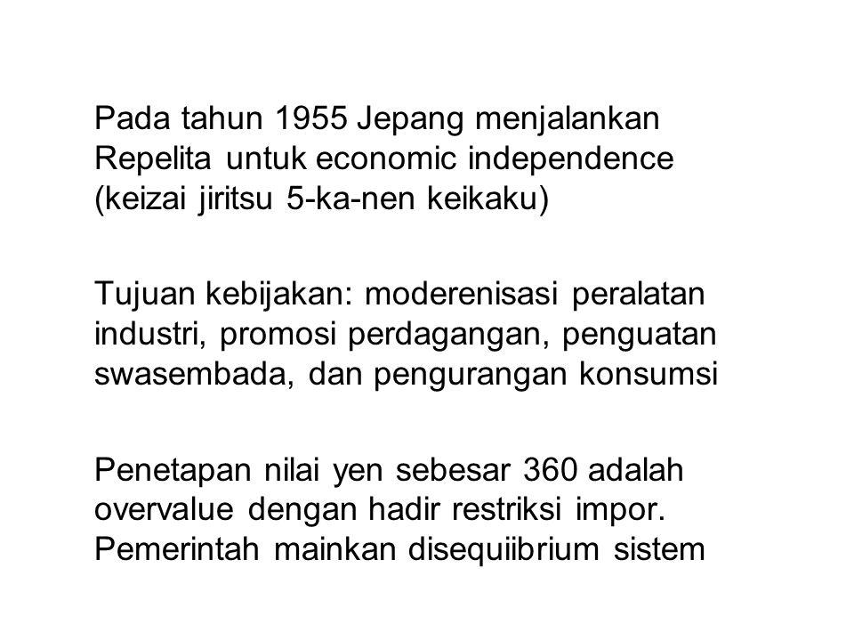 Pada tahun 1955 Jepang menjalankan Repelita untuk economic independence (keizai jiritsu 5-ka-nen keikaku) Tujuan kebijakan: moderenisasi peralatan ind