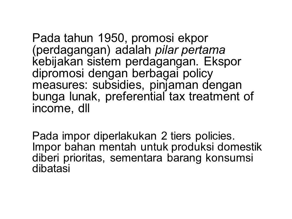 Pada tahun 1950, promosi ekpor (perdagangan) adalah pilar pertama kebijakan sistem perdagangan. Ekspor dipromosi dengan berbagai policy measures: subs