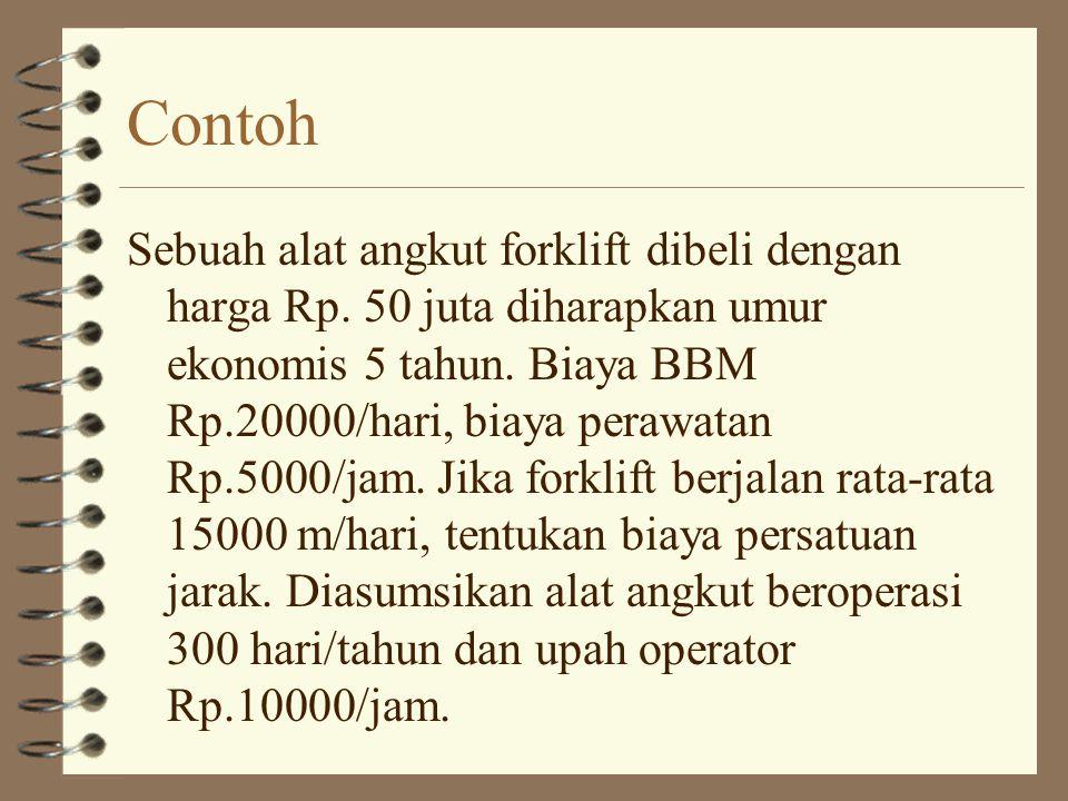 Contoh Sebuah alat angkut forklift dibeli dengan harga Rp. 50 juta diharapkan umur ekonomis 5 tahun. Biaya BBM Rp.20000/hari, biaya perawatan Rp.5000/