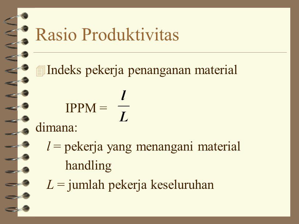 Rasio Produktivitas 4 Indeks pekerja penanganan material IPPM = dimana: l = pekerja yang menangani material handling L = jumlah pekerja keseluruhan