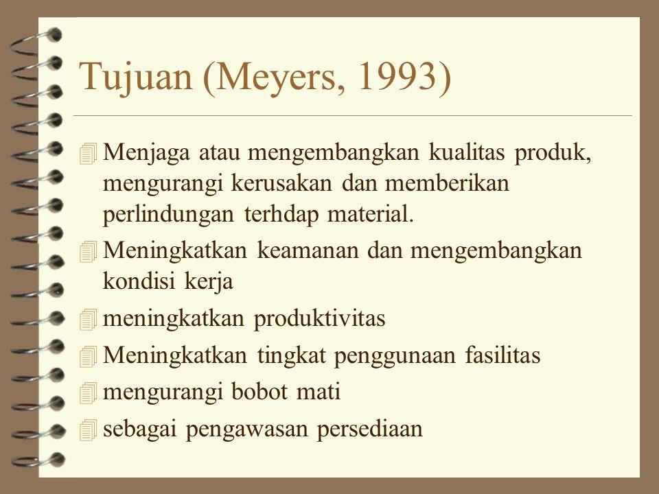 Tujuan (Meyers, 1993) 4 Menjaga atau mengembangkan kualitas produk, mengurangi kerusakan dan memberikan perlindungan terhdap material. 4 Meningkatkan