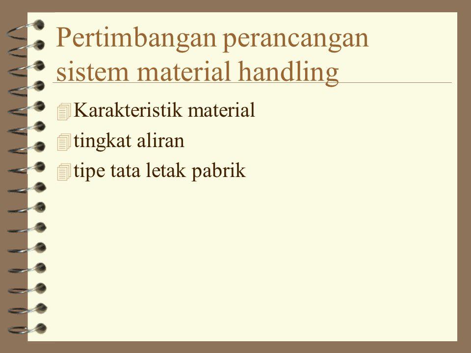 Pertimbangan perancangan sistem material handling 4 Karakteristik material 4 tingkat aliran 4 tipe tata letak pabrik