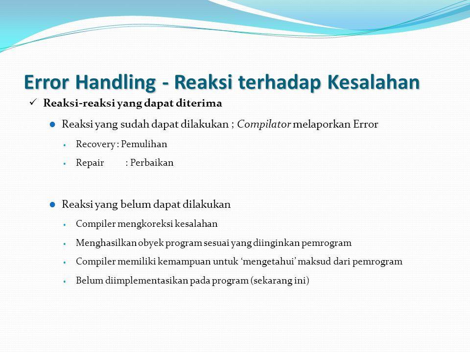 Error Handling - Reaksi terhadap Kesalahan Reaksi-reaksi yang dapat diterima Reaksi yang sudah dapat dilakukan ; Compilator melaporkan Error Recovery