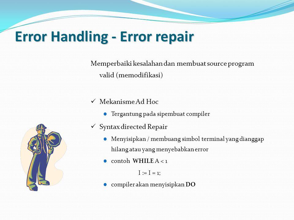Error Handling - Error repair Memperbaiki kesalahan dan membuat source program valid (memodifikasi) Mekanisme Ad Hoc Tergantung pada sipembuat compile