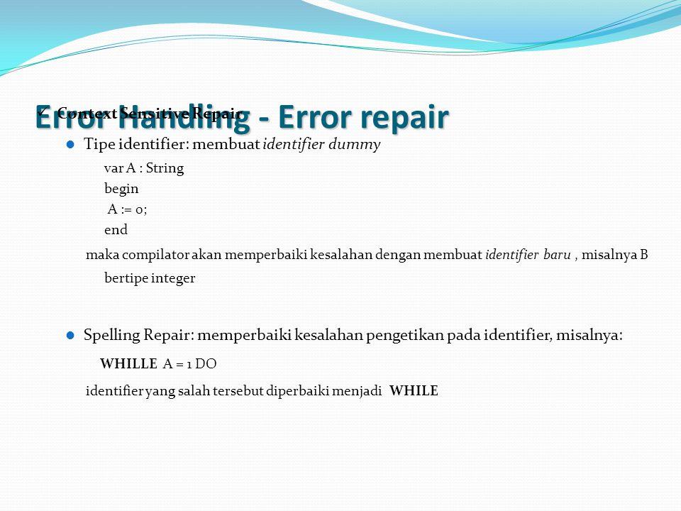 Error Handling - Error repair Context Sensitive Repair Tipe identifier: membuat identifier dummy var A : String begin A := 0; end maka compilator akan