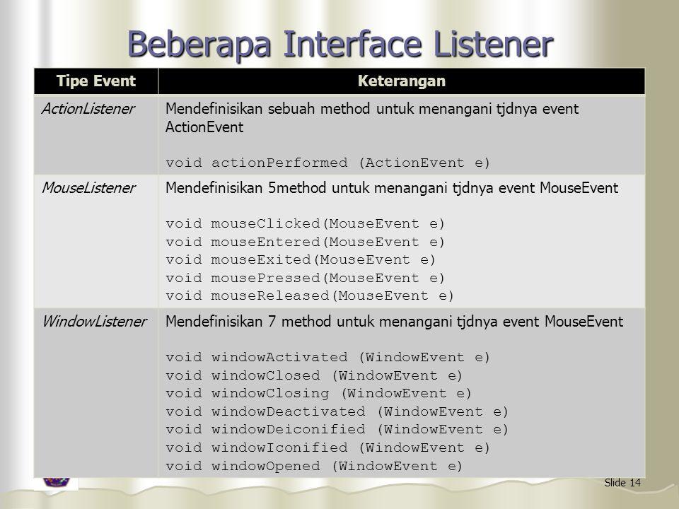 Slide 14 Beberapa Interface Listener Tipe EventKeterangan ActionListenerMendefinisikan sebuah method untuk menangani tjdnya event ActionEvent void act