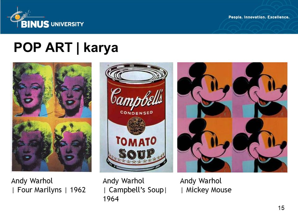 15 POP ART | karya Andy Warhol | Four Marilyns | 1962 Andy Warhol | Campbell's Soup| 1964 Andy Warhol | Mickey Mouse