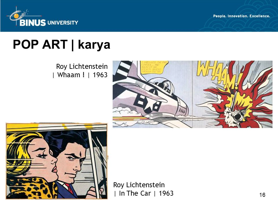 16 POP ART | karya Roy Lichtenstein | In The Car | 1963 Roy Lichtenstein | Whaam ! | 1963