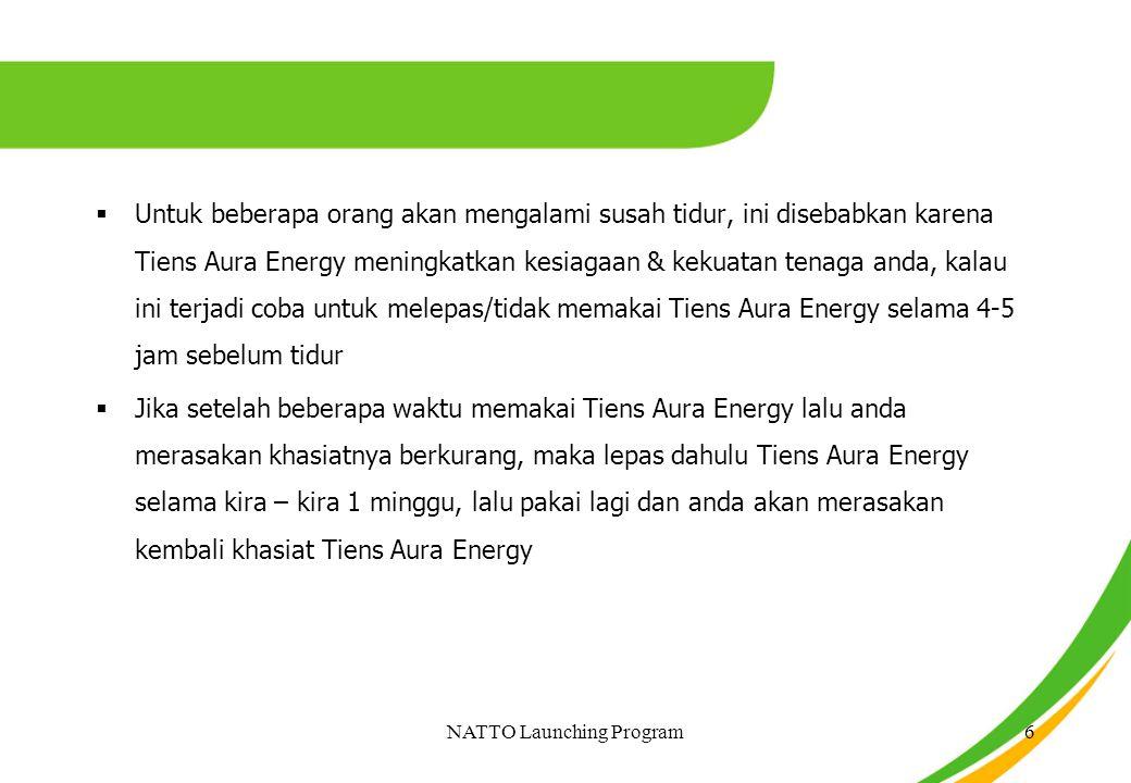  Untuk beberapa orang akan mengalami susah tidur, ini disebabkan karena Tiens Aura Energy meningkatkan kesiagaan & kekuatan tenaga anda, kalau ini te
