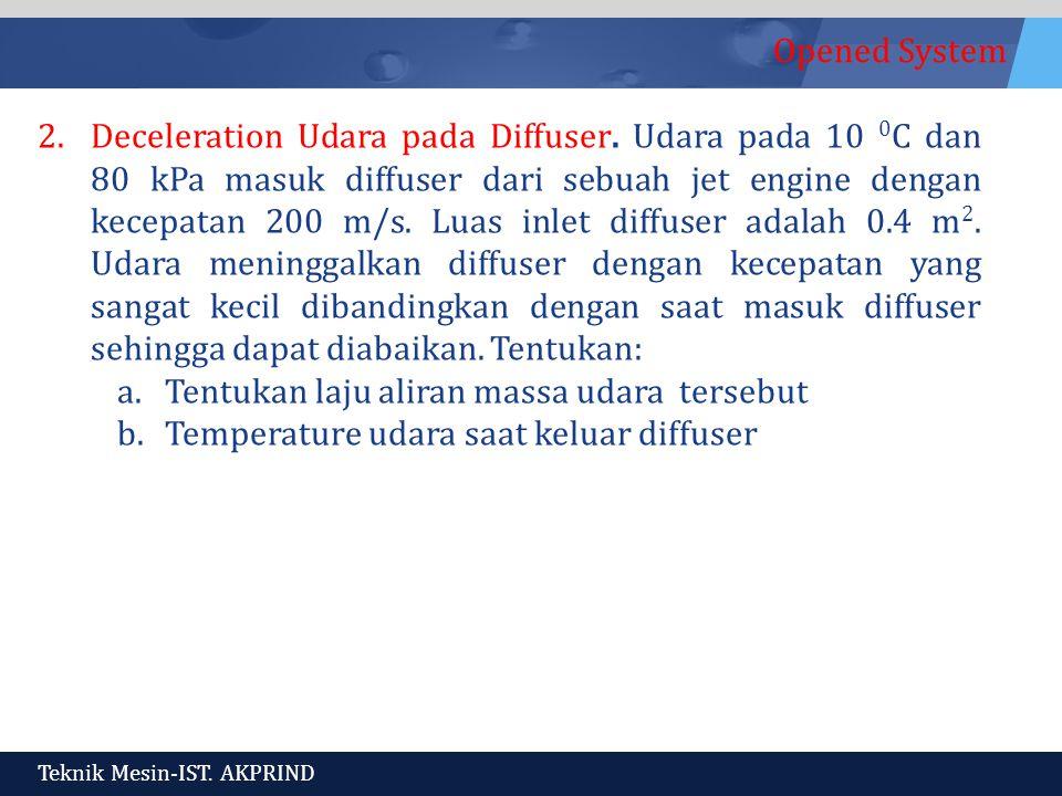 Opened System Teknik Mesin-IST.AKPRIND 2.Deceleration Udara pada Diffuser.