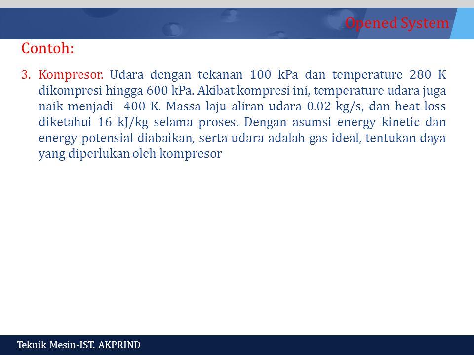 Opened System Teknik Mesin-IST.AKPRIND Contoh: 3.Kompresor.