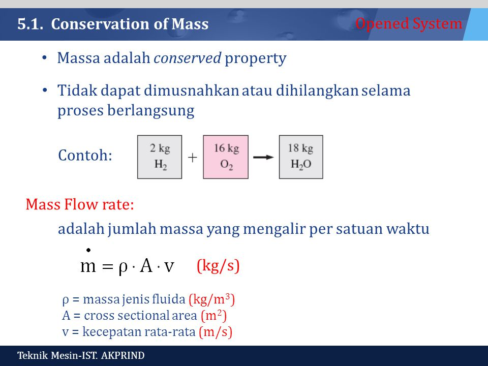 Opened System Teknik Mesin-IST. AKPRIND 5.1. Conservation of Mass Massa adalah conserved property Tidak dapat dimusnahkan atau dihilangkan selama pros