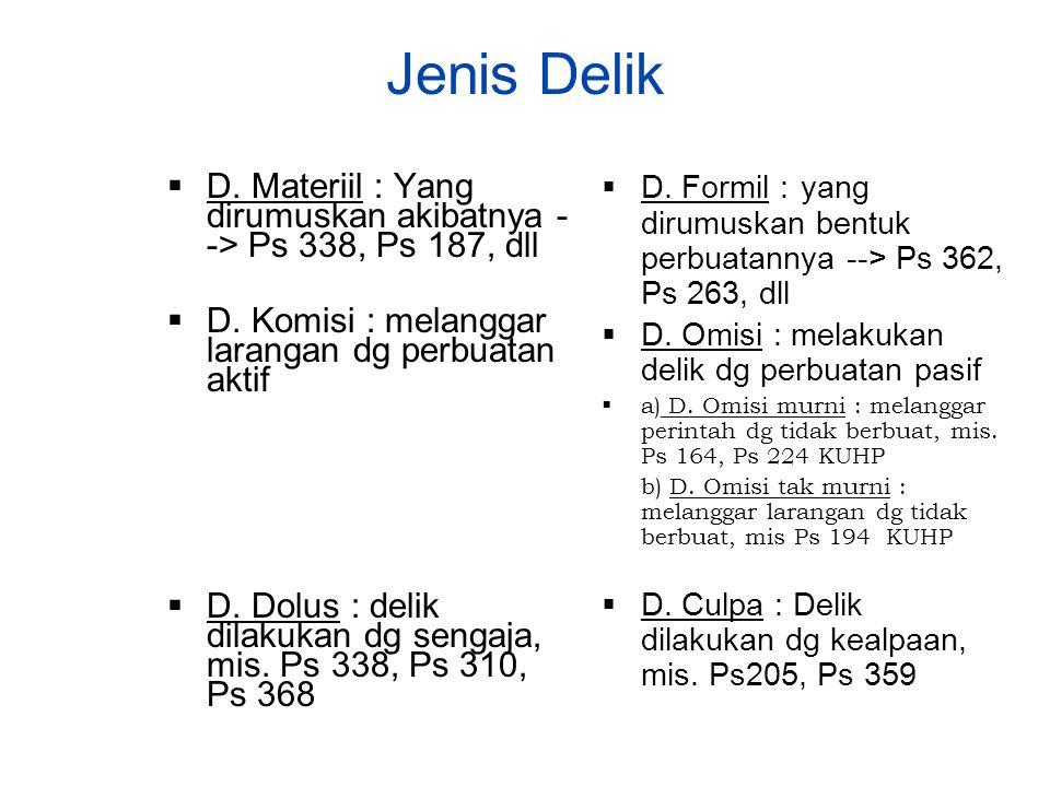 Jenis Delik  D. Materiil : Yang dirumuskan akibatnya - -> Ps 338, Ps 187, dll  D. Komisi : melanggar larangan dg perbuatan aktif  D. Dolus : delik